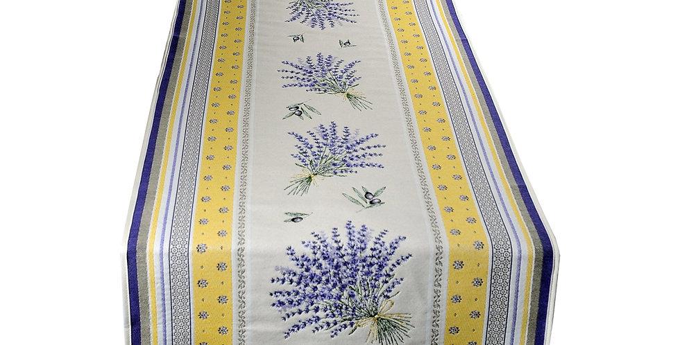 French Table Runner Jacquard Tapestry Yellow/Lavender Castillon