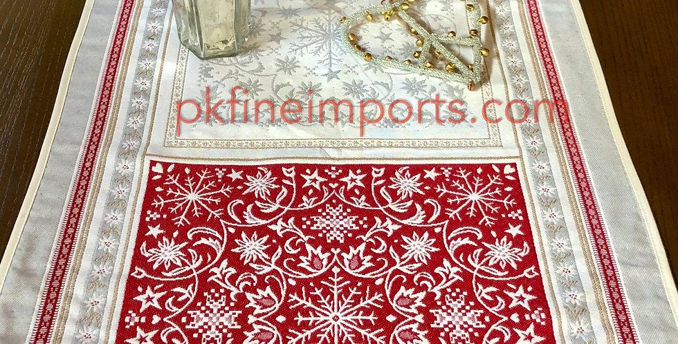 Ecru/Red Himalaya Jacquard Tapestry Table Runner