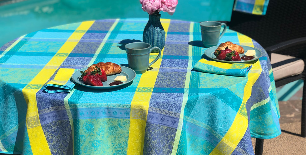 """French Tablecloth Jacquard 70"""" Round Turquoise Maussane"""