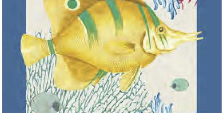 Yellow Fish in Coral Printed Cotton Kitchen Towel