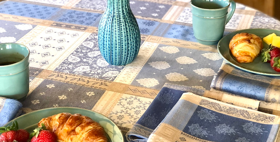 """French Tablecloth Jacquard Coated 69"""" Round Blue/Beige Valescure"""