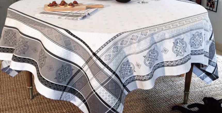 French Tablecloth Jacquard Grey Callas