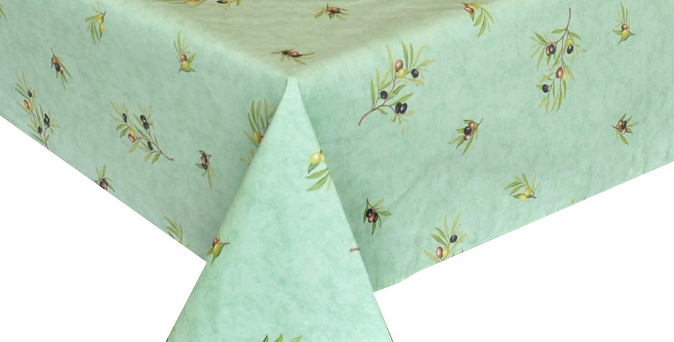 French Tablecloth Coated All Over Green Clos des Oliviers