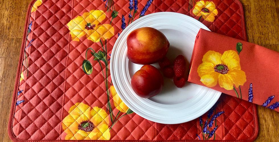Orange Poppy & Lavender Coated Cotton Placemat