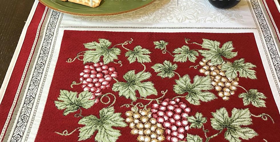French Table Runner Jacquard Tapestry Red Vendange