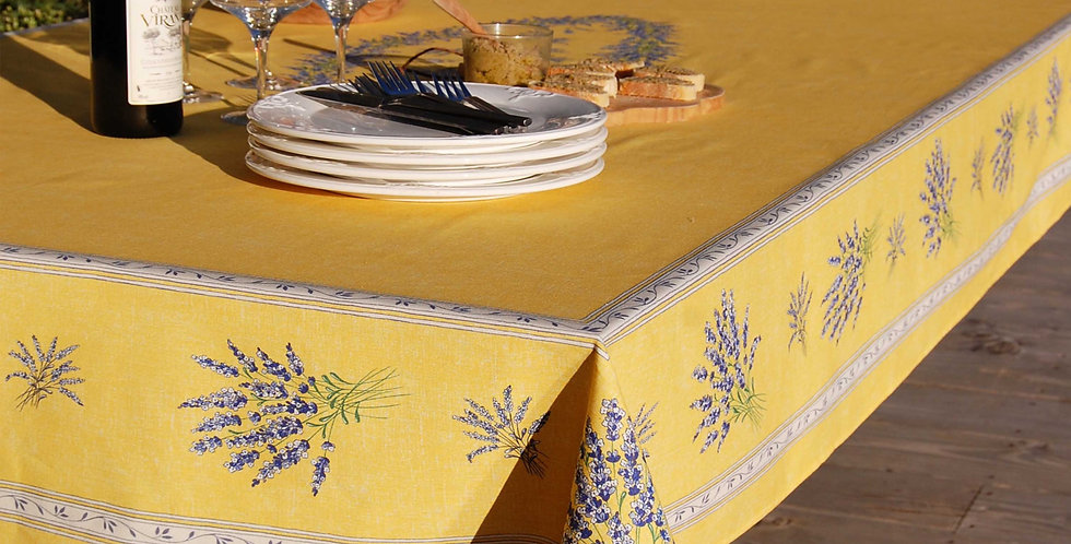 French Tablecloth Coated Yellow Valensole