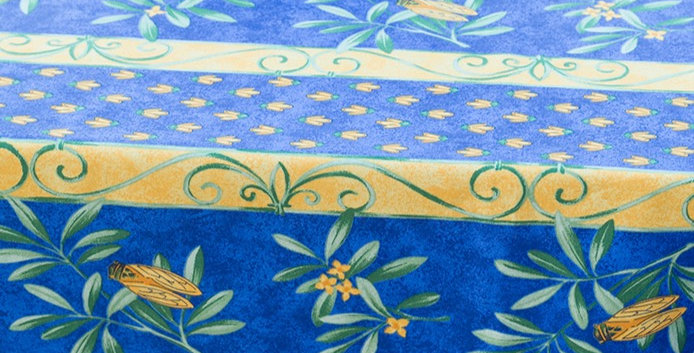 """French Tablecloth Coated 60"""" Round Striped Blue Cigale"""