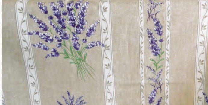 """French Tablecloth Coated 60"""" Round Striped Beige Valensole"""