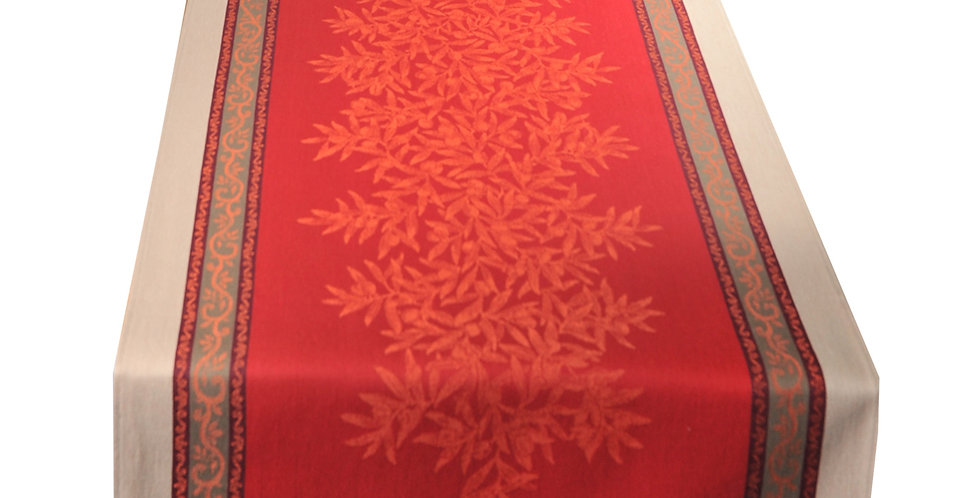 French Table Runner Jacquard Red Olive