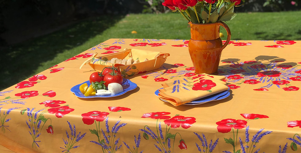 French Tablecloth Coated Yellow Poppy