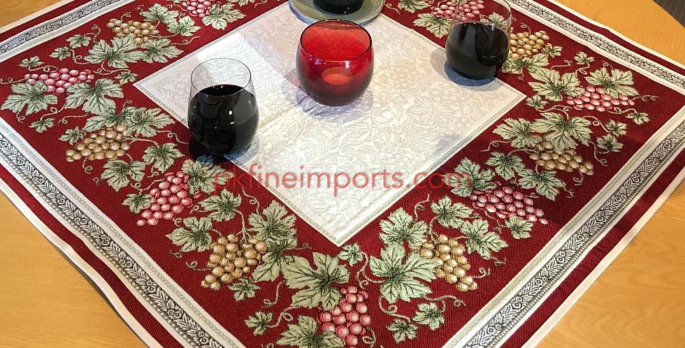 Red Vendange Jacquard Woven Table Topper