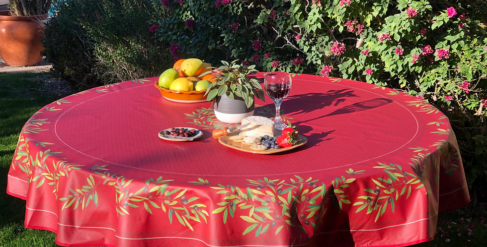 "Red Nyons 70"" Round Coated Cotton Tablecloth"