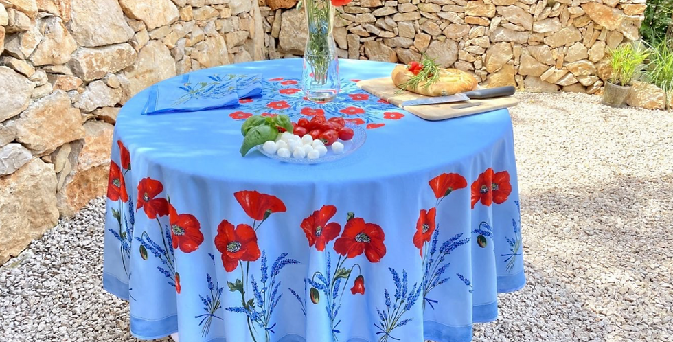 Light Blue Poppy & Lavender Round Coated Cotton Tablecloths