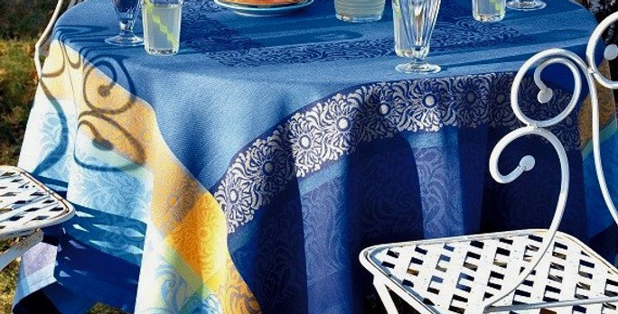 French Tablecloth Jacquard Blue/Yellow Bargeme