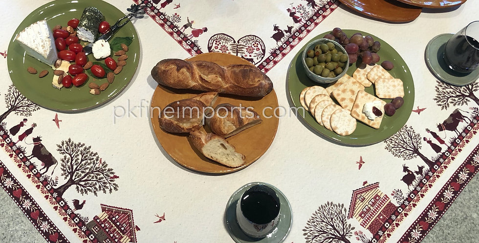 "French Tablecloth Jacquard Tapestry 57"" x 102""  Ecru Plagne"
