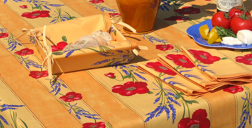 """French Tablecloth Coated 60"""" Round Striped Yellow Poppy"""