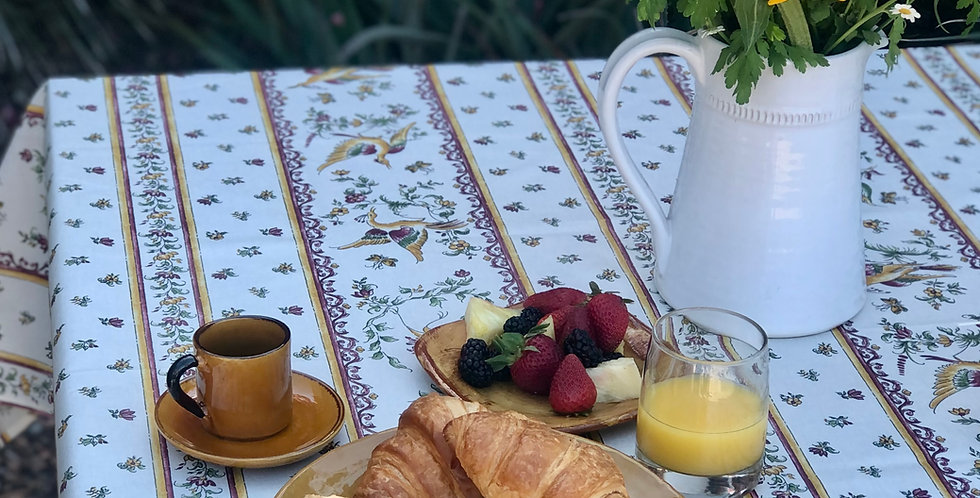 French Tablecloth Coated Striped Rose Moustiers
