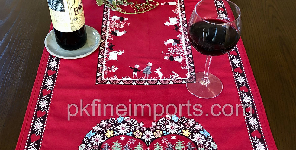 Red Plagne Jacquard Tapestry Table Runner