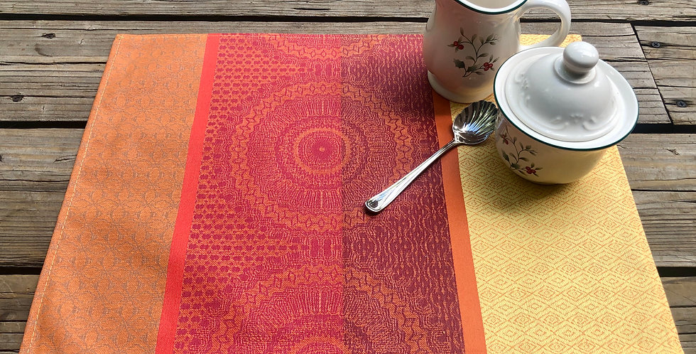 Red Comana Jacquard Woven Coated Placemat