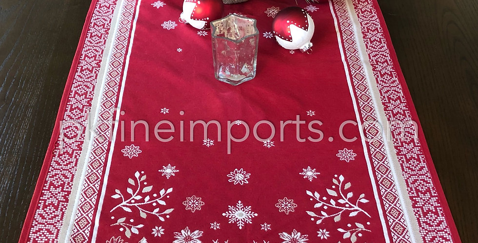French Table Runner Jacquard Tapestry Red Vallée