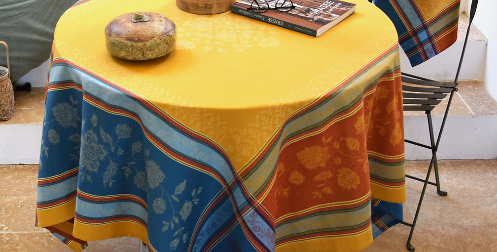 French Tablecloth Jacquard Curry Ramatuelle