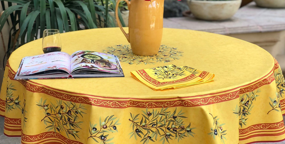 """French Tablecloth Coated 70"""" Round Yellow Clos des Oliviers"""