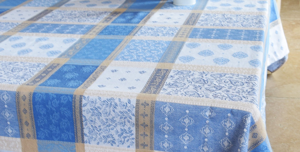 French Tablecloth Jacquard Blue/Beige Valescure