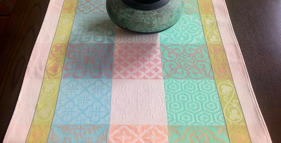 Peach/Green Reillanne Jacquard Woven Table Runner