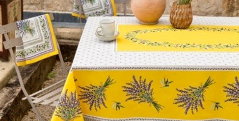 Yellow Lauris Coated Cotton Tablecloths