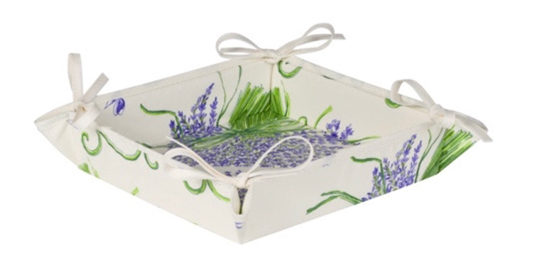 French Basket White Bouquet of Lavender