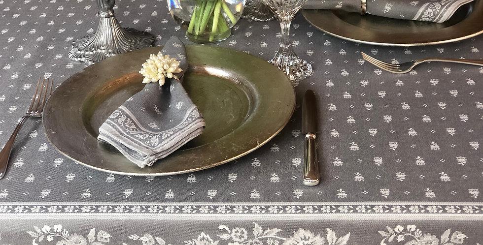 French Tablecloth Jacquard Dark Grey Durance