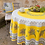 """Thumbnail: French Tablecloth Coated 90"""" Round Yellow Lauris"""