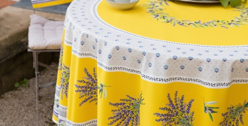 """French Tablecloth Coated 90"""" Round Yellow Lauris"""