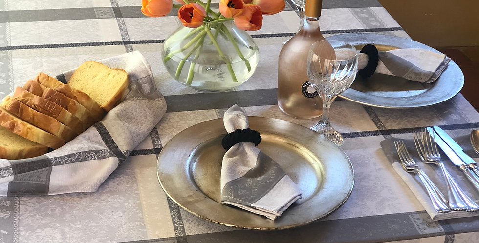 French Tablecloth Jacquard Ecru/Grey Maussane