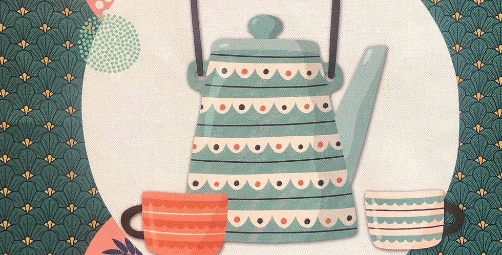 French Kitchen Towel Cotton Tea Time #1