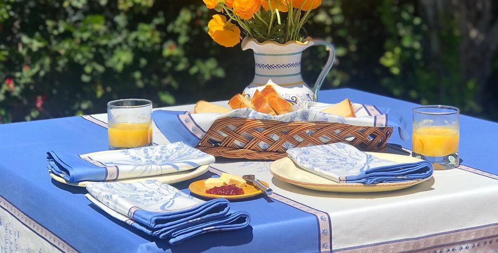 French Tablecloth Jacquard Ecru/Blue Grignan