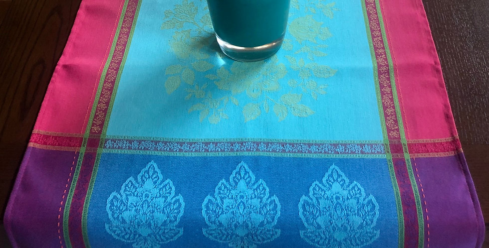 Turquoise Caprice Jacquard Woven Table Runner