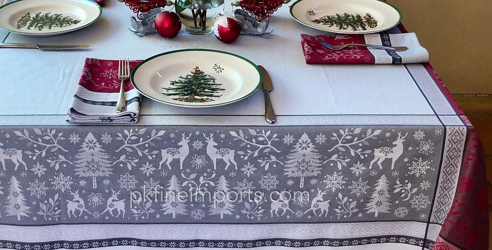 Red/Grey Vars Jacquard Woven Tablecloths