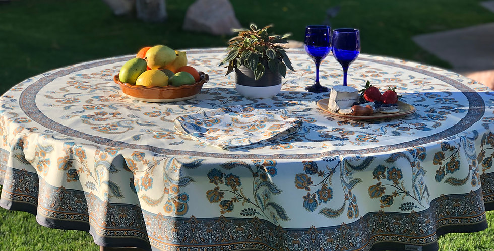 """French Tablecloth Coated 70"""" Round Blue Bastide"""
