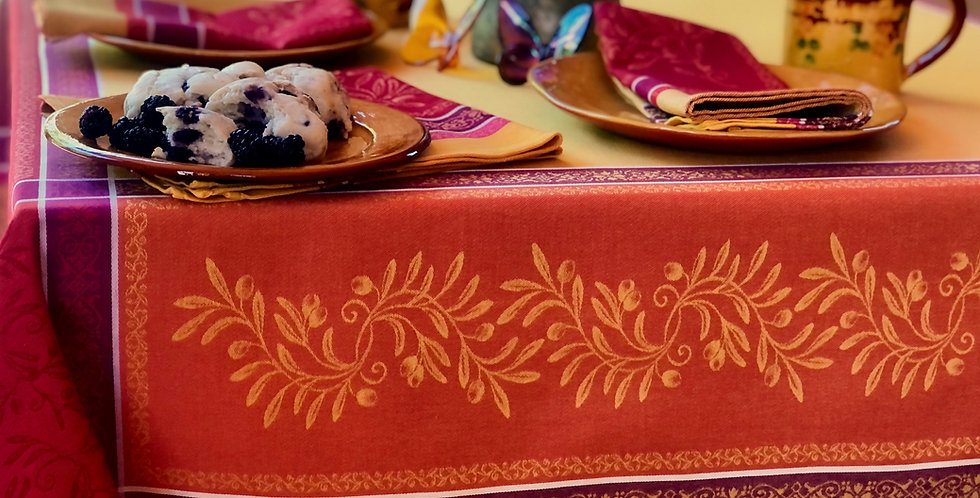 French Tablecloth Jacquard Red/Yellow Olivia