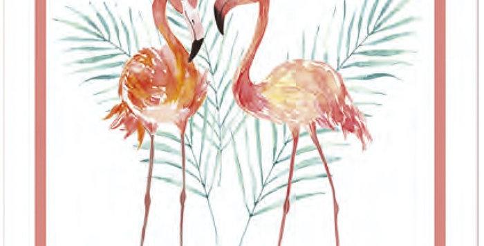 French Kitchen Towel Cotton Flamingos