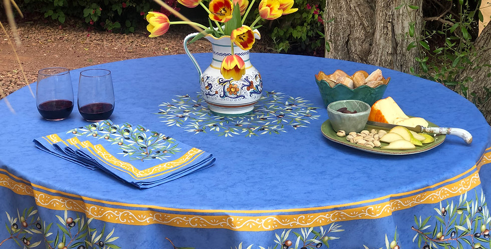 """Blue Clos Des Oliviers 70"""" Round Coated Tablecloth"""