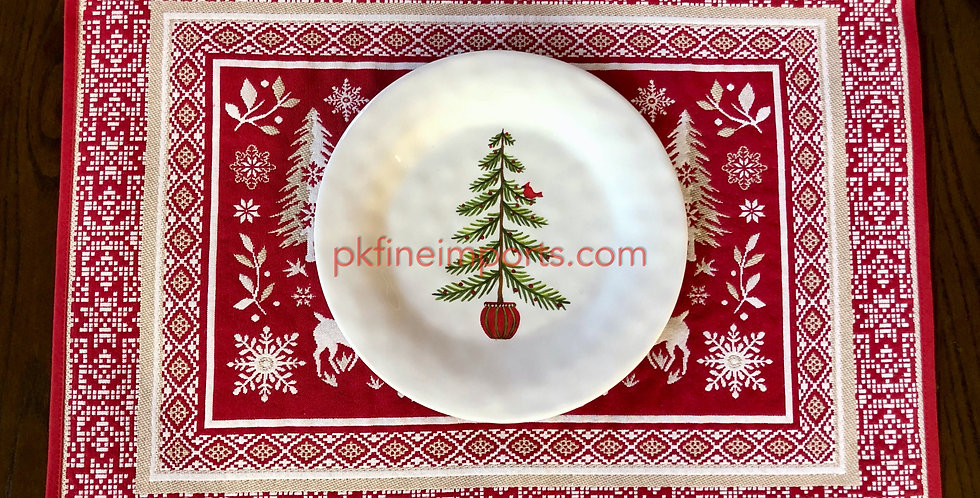Red Vallée Jacquard Tapestry Placemat
