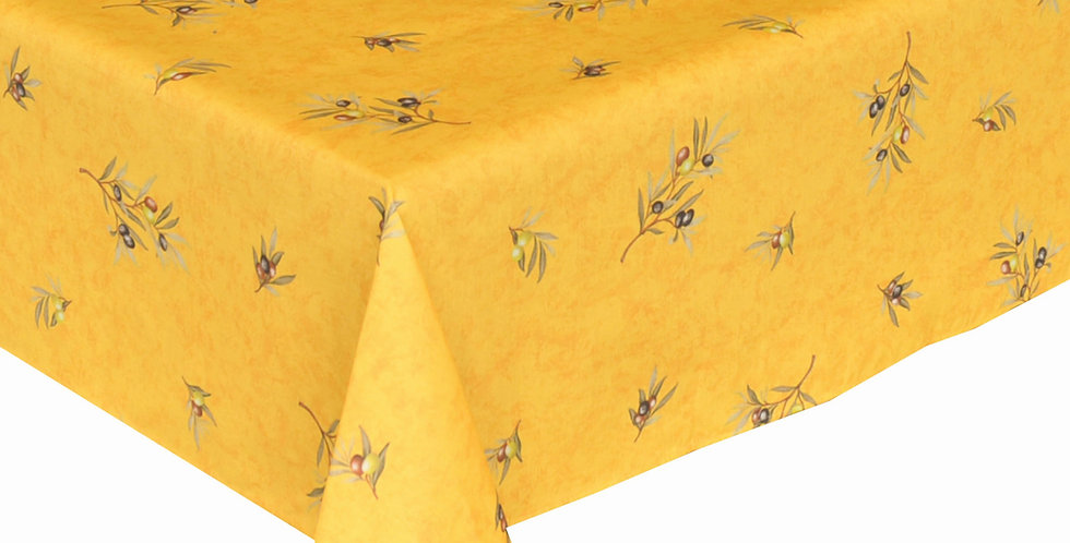 French Tablecloth Coated All Over Yellow Clos des Oliviers