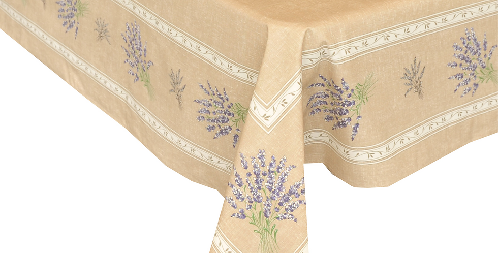 French Tablecloth Coated Beige Valensole