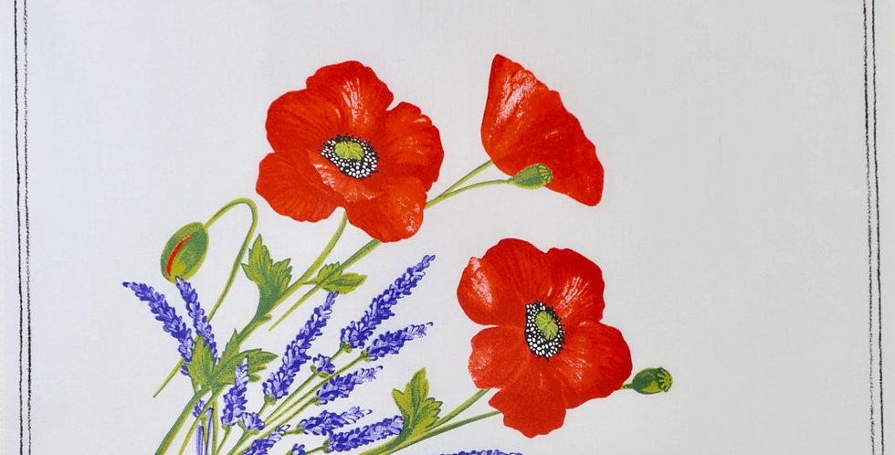 White Poppy & Lavender Printed Cotton Napkin