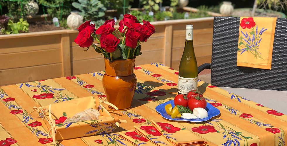 French Tablecloth Coated Striped Yellow Poppy