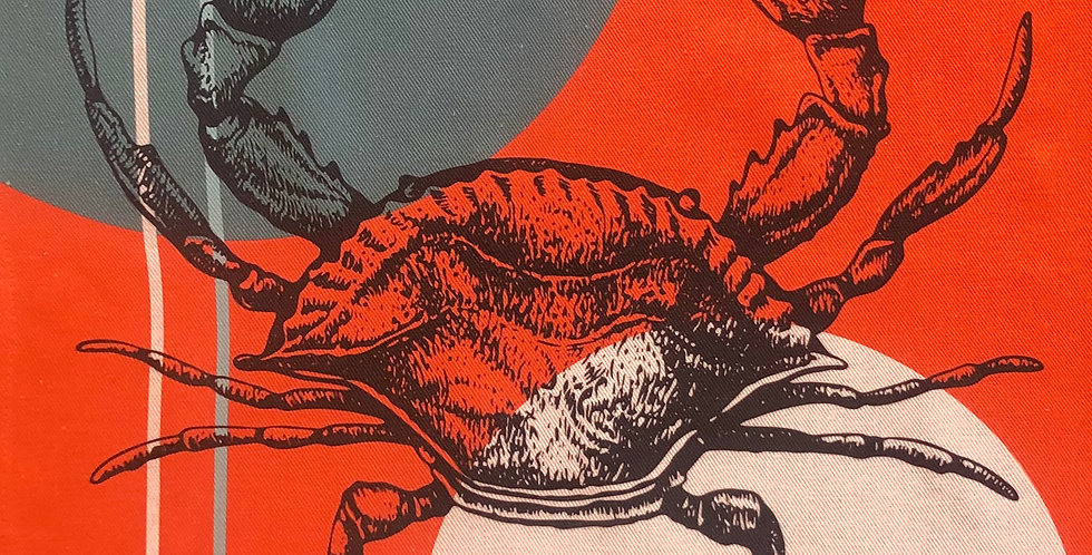 French Kitchen Towel Cotton Crab