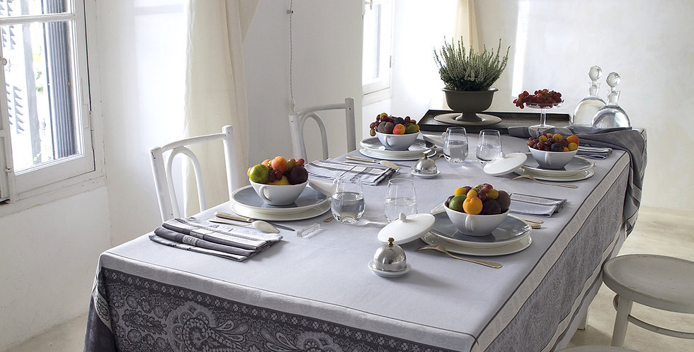 Grey Vaucluse Jacquard Woven Tablecloths