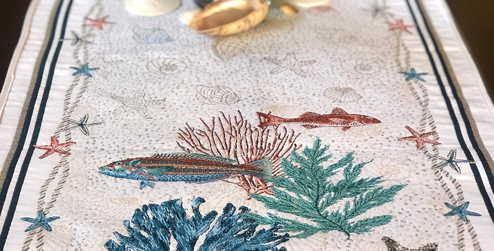 French Table Runner Jacquard Tapestry Sea Life